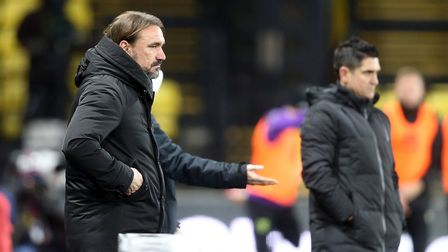 Norwich Head Coach Daniel Farke and Watford Manager Xisco during the Sky Bet Championship match at V