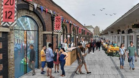 An artist's impression of how a pedestrianised Butchers Row in Barnstaple could look if the millions in Government funding...