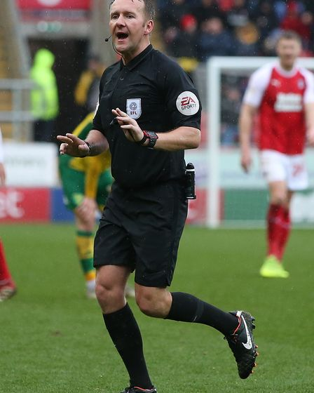 Referee Oliver Langford during the Sky Bet Championship match at the New York Stadium, RotherhamPi