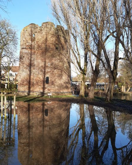 Flooding at Cow Tower in Norwich.