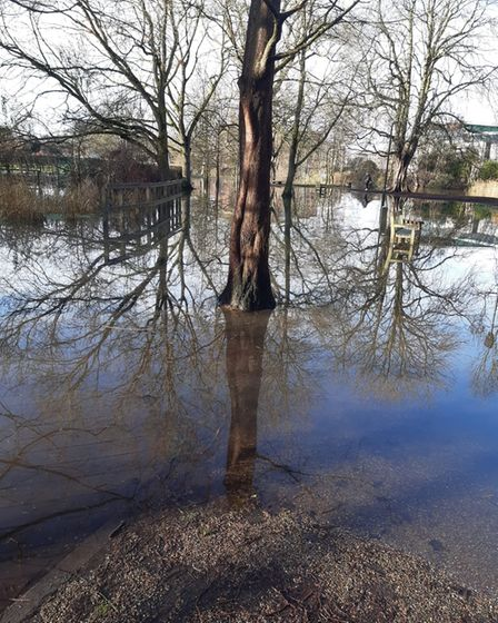Flooding near Cow Tower in Norwich.