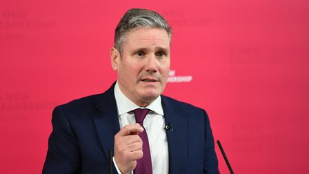 Labour leader Sir Keir Starmer delivers a virtual statement from the Labour Party headquarters.