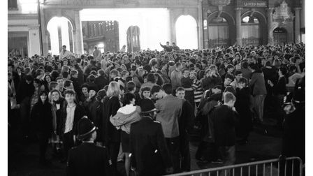 A packed Ipswich Cornhill just before midnight at New Year celebrations in 1988