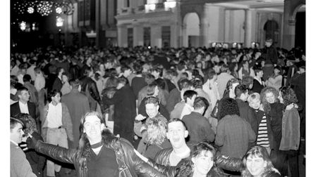 The Cornhill in Ipswich was packed with people celebrating the New Year in 1990