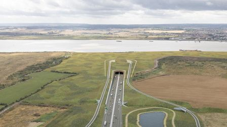 Artist's impression of the original Lower Thames Crossing proposal, which has now been withdrawn. Pi
