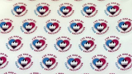 Stickers saying 'I've had my Covid vaccination' ready for people who have received the firstdose of the Covid-19 vaccine