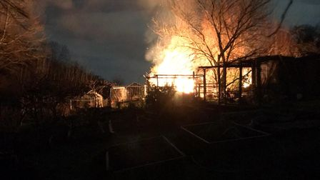 A shed on fire at the Shepherd's Hill allotments in the early hours of December 28.