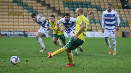 Teemu Pukki of Norwich scores his sides 1st goal from the penalty spot during the Sky Bet Championsh