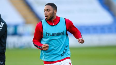 Charlton Athletic's Akin Famewo warming up before the Sky Bet League One match at the New Meadow, Sh
