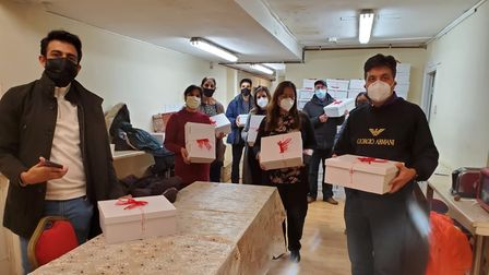 Working with the charity Sewa Day Ravi and others delivered Christmas shoeboxes to the Wellcome Centre.
