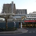 A view of the Royal Free Hospital teaching hospital in the Hampstead area of the London Borough of C