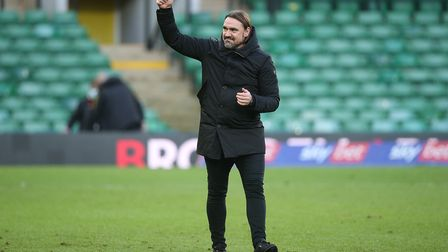Norwich Head Coach Daniel Farke celebrates victory with the fans at the end of the Sky Bet Champions