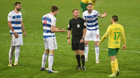 Queens Park Rangers' Rob Dickie (4) and Geoff Cameron (20) appeal after a penalty is awarded against