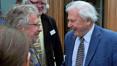 David Thompson meeting Sir David Attenborough at the opening of the Cley Visitor Centre expansion.