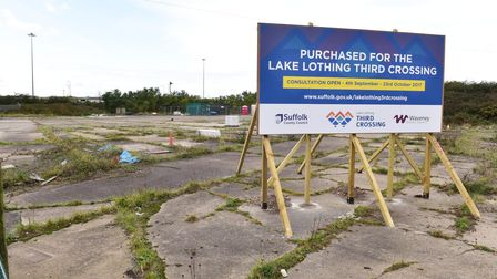 The signhighlighting that land close to Lake Lothing has been acquired for a major third crossing in Lowestoft.