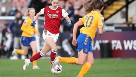 Arsenal's Vivianne Miedema (left) in action during the FA Women's Super League match at the Meadow P