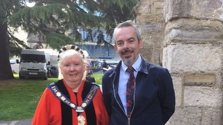 Anni Young with her husband Matt outside the Minster Church, Axminster, VE Day 2019.