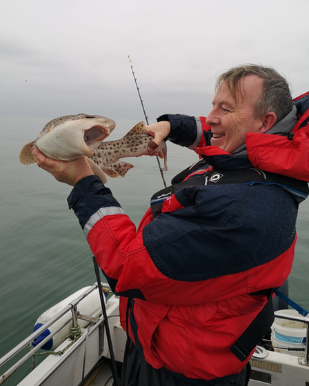 Gary Phippard with an angry-looking bull huss from aprivate boat out of Teignmouth