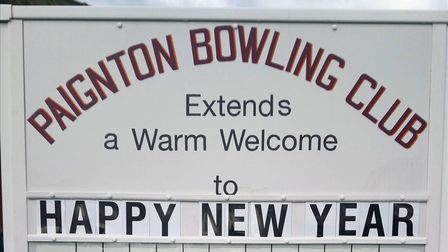Paignton Bowling Club's new scoreboard with 'happy new year' displayed