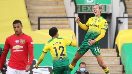 Todd Cantwell was jumping for joy after equalising for Norwich City against Manchester United Pict