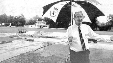 """A newspaper cutting of Roger Mann thinking: """"When is it going to stop raining?"""""""