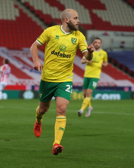 Teemu Pukki of Norwich celebrates scoring his sides 2nd goal during the Sky Bet Championship match a