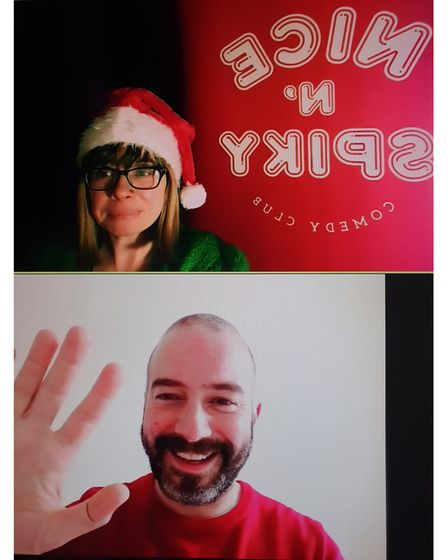 Clara Heimerdinger and Stefano Paolini at a virtual Christmas show.