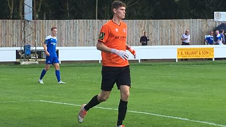 Bury Town's new keeper, Daniel Barden, on loan from Norwich City, in action of his debut against Bas