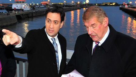 Labour Party Leader Ed Miliband pays a visit to Lowestoft to see the Towns Bascule bridge.Ed Milib
