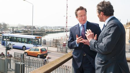 Prime Minister, David Cameron with conservative candidate Peter Aldous looking over the bascule brid