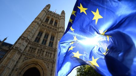 A European flag flies outside the Palace of Westminster in London. Photograph: Kirsty O'Connor/PA.