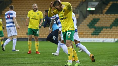 Emiliano Buendia of Norwich rues a missed chance during the Sky Bet Championship match at Carrow Roa