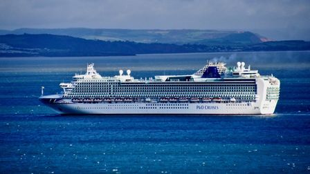 A cruise ship at anchor in Torbay