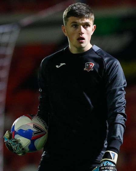 Exeter City keeper Harry Lee during the warm up before the Skybet League Two Match between Grimsby T