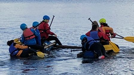 Youngsters kayaking during their two days of fun on the water atRoadfordLake