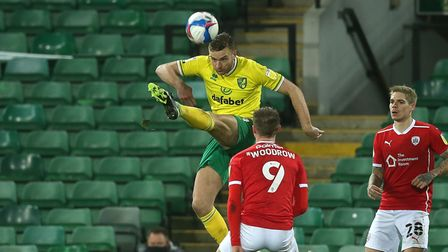 Ben Gibson of Norwich clears the ball during the Sky Bet Championship match at Carrow Road, Norwich