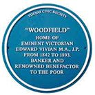 The Torbay Civic Society Blue Plaque at Woodfield, home of Major Edward Vivian