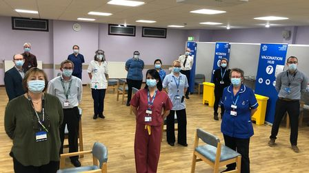 Staff at Ipswich Hospital on the day of the national Oxford/AstraZeneca vaccine rollout