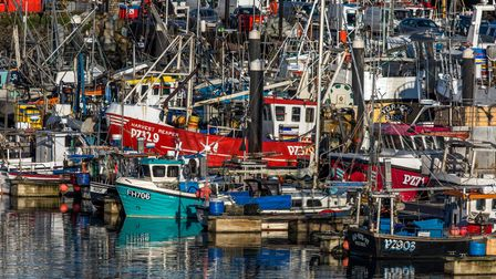 Colourful boats pack the harbour at Newlyn