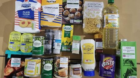 Food in boxes, tins and packs