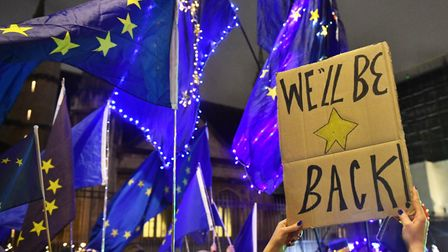 Pro-EU campaigners outside the Houses of Parliament ahead of Brexit day.