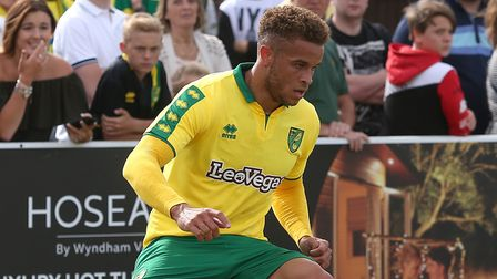 Carlton Morris of Norwich in action during the Pre-season Friendly match at Crown Meadow, Lowestoft