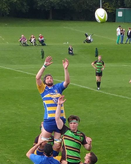 Chris Jones secures a line-out for St Albans Rugby Club