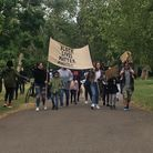 Families and friends march in Roundwood Park as part of Black Lives Matter. Picture: Brent Black Liv