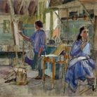 Watercolour painting Students at St Albans School of Art 1957 by Maurice Field.