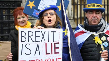 Pro-EU campaigners outside the Houses of Parliament ahead of Brexit day. Photograph: Dominic Lipinsk
