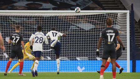 Tottenham Hotspur's Moussa Sissoko (no.17) scores his side's first goal of the game during the Carab