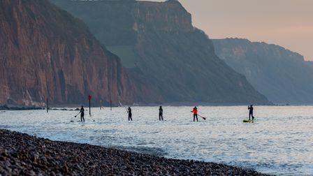 Paddle boarders at Sidmouth