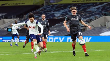 Tottenham Hotspur's Son Heung-min scores his side's second goal of the game during the Carabao Cup S