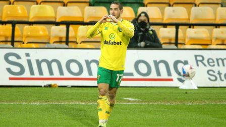 Norwich City's Emi Buendia celebrates scoring his side's first goal of the game during the Sky Bet C